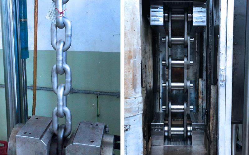 Schwingungsanalyse Rundstahlkette (links) und Zentralkette (rechts)